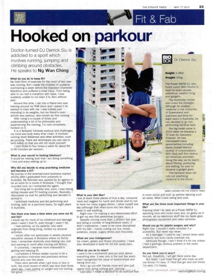 Derrick Siu Parkour Freerunning Straits Times Fit & Fab