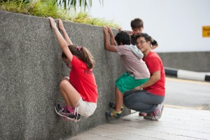 Kids Learning climbing skills